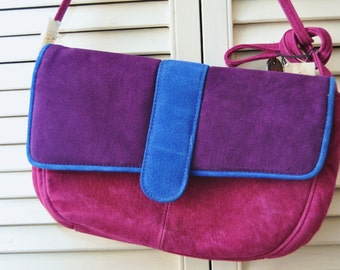 Vintage 80s Suede Leather Purse Handbag/Color Block Purple Blue Violet/9 West Margos/Deadstock NWTs NOS/Costume Theater/Women's Shoulder Bag
