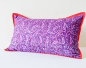 Purple Printed Silk Pillow Cover with Fuchsia Stitch Detail, Purple Silk Pillow Cover with Contrast Flange, Lumbar Pillow, Decorative Pillow