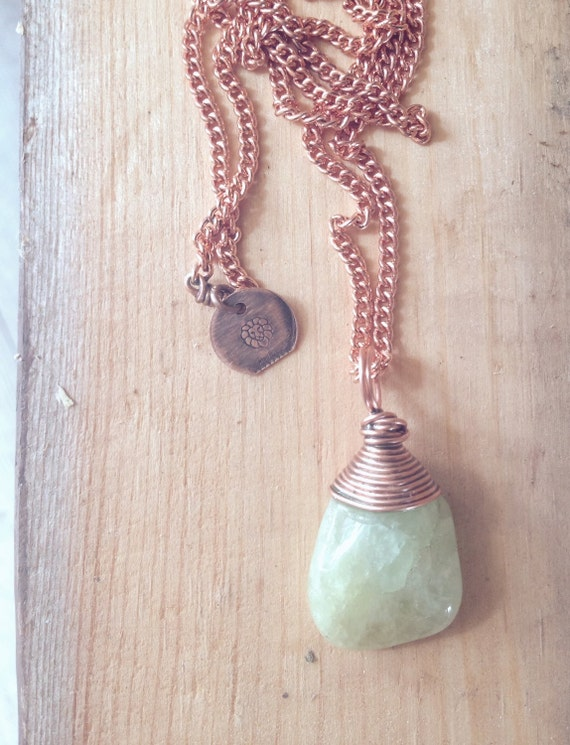 Wire Wrapped Aquamarine on Copper Chain