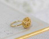 Boho Ring, Edwardian Ring, Gold Filigree Ring, Edwardian Engagement Ring, Boho Wedding, Edwardian Jewelry, Gold Ring, Unique Engagement Ring