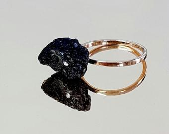 Stone Ring, Black Raw Ring, Gemstone Jewelry, Gold Black Lava Stone Ring, Natural Stone Ring, Gold Ring, Boho Chic Ring, Black Ring