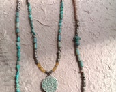 NEPALI - Tribal 2-Piece necklace set with Nepal beads and turquoise