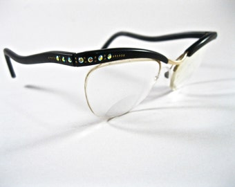 Vintage cat eye glasses with Rhinestones. 1950s rimless frames. AB Aurora Borealis crystals.