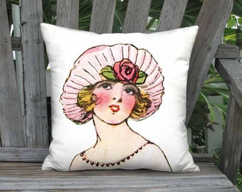 Pillow Cover - Pillow - Pink French Fashion Hat Face French Flapper Decor - 16x 18x 20x 22x 24x 26x 28x Inch Linen French Hat Cushion Cover