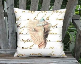 Pillow Cover - Pillow - Beach Sea Shell No. 2 16x 18x 20x 22x 24x 26x Inch Beach Cottage Sea Shore Decor - Linen Sea Shell Cushion Cover
