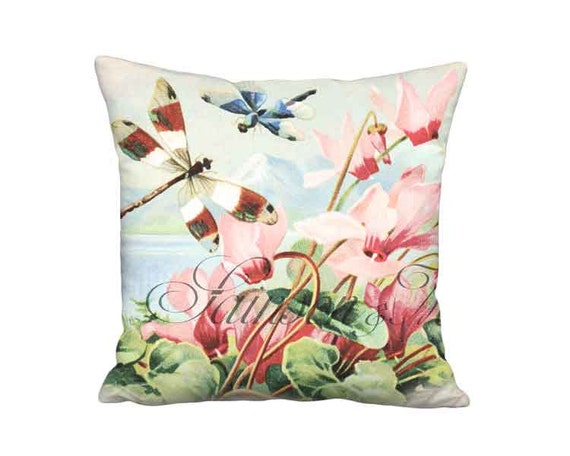 18x18 Inch - READY TO SHIP - Linen Cotton Pink and Blue Retro Tropical Beach House Pillow - Cyclamen and Dragonfly Cushion Cover