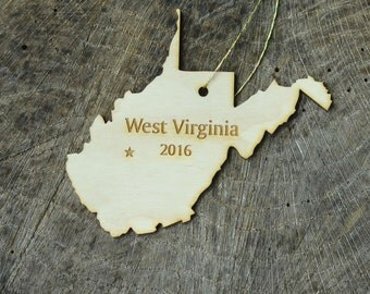Natural Wood West Virginia State Ornament WITH 2016