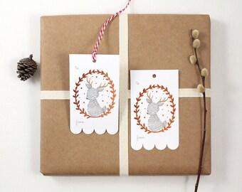 10 Copper Foil Tags - Reindeer Wreath
