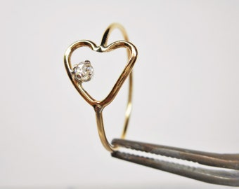14k Rose Cut Diamond Open Heart Ring Hand Forged Gold Conflict Free Genuine Clear Polki Diamond Promise Ring Sweet Sixteen Gift for Her