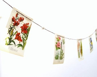 Party Flower Bunting - from book and buttons - upcycled -F-