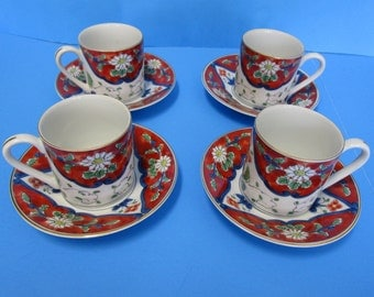 Takahashi Made In Japan, San Francisco,  Set of 4 Floral Demitasse Cups and Saucers