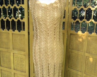 60s crochet dress, gold wiggle dress, mid century French vintage, silk, M L