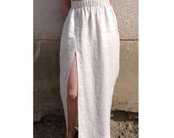 Linen front slit skirt. Minimalist maxi skirt in BLACK ONLY.