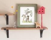 Woodland Nursery Art, Black Bear Print, Forest Nursery Art, Children's Wall Art, Children's Art, Children's Decor Kids Wall Art New Baby Art