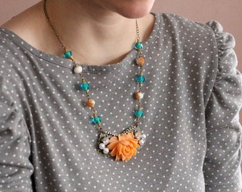 Romantic large tangerine orange rose statement necklace, filigree, rhinestone, pearl, and broze bead accents, Zest and Sunshine