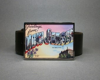 Belt Buckle New Jersey Vintage Postcard Unique Gift for Men or Women
