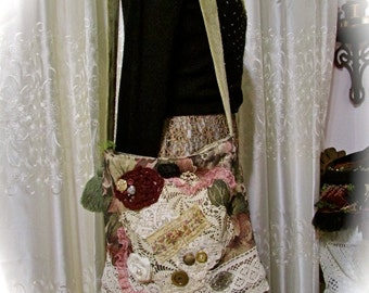 Tapestry Fabric Tote, handmade fabric bag florals embellished fabric purse, decorated shoulder bag, floral tapestry bag, upcycled fabric bag