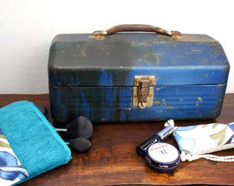 Vintage Blue Simonsen Wax Finished Metal Toolbox with Handmade Accessory Pouches, Top Handle, Tool Box, Industrial Makeup Case, Distressed