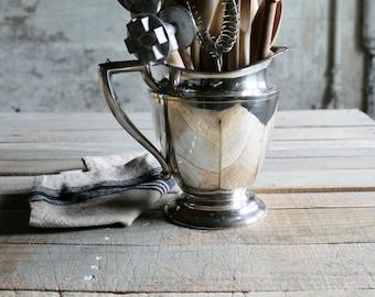 Vintage Silver Water Pitcher / Utensil Holder / Vase