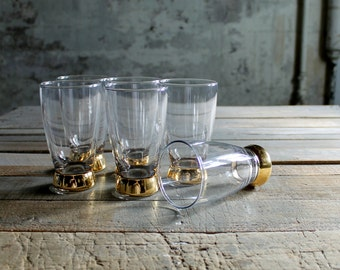 6 Pc Vintage Clear with Gold Bottom Glasses