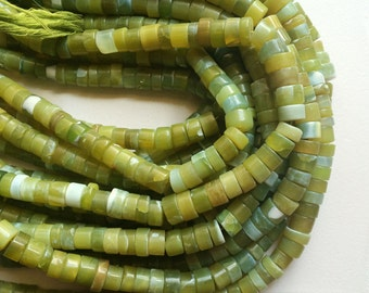 Opal - Green Opal Beads, Green Opal Plain Spacer Beads, Opal Tyres, Green Opal Necklace, 9mm Approx, 13 Inch Strand Opal Jewelry