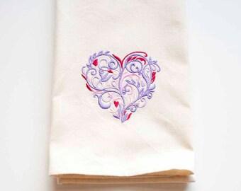 Filigree Heart Tea Towel   Heart Embroidered Tea Towel   Wedding Gift   Embroidered Kitchen Towel   Anniversary Gift   Embroidered Towel