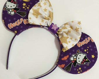 Halloween Witch Hello Kitty Mouse Ears with Bow - Mad Ears - IN STOCK