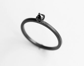Diamond Thorn - black diamond oxidized silver ring - natural black diamond oxidized sterling silver ring - minimalist engagement ring