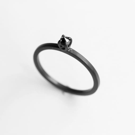 Diamond thorn . black diamond oxidized sterling silver ring