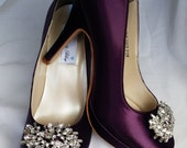 Purple Wedding Shoes Closed Toe Bridal Shoes with Crystal Brooch - Dyeable Bridal Shoes - Pick your Color