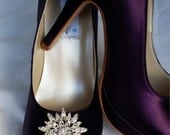 Purple Wedding Shoes Closed Toe Bridal Shoes with Sparkling Flower Burst Crystal Brooch - Dyeable Bridal Shoes - Pick your Color