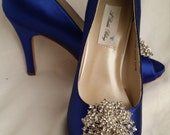Wedding Shoes Bridal Shoes Blue Bridal Shoes with Vintage Style Crystal Flower Brooch -  Dyeable Shoes Over 100 Colors To Pick From