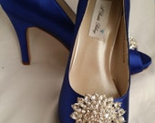 Wedding Shoes Blue Bridal Shoes with Sparkling Crystal Oval Brooch -  Dyeable Shoes Over 100 Colors To Pick From