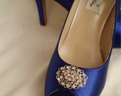 Wedding Shoes Blue Bridal Shoes with Vintage Inspired Crystal Oval Brooch -  Dyeable Shoes Over 100 Colors To Pick From