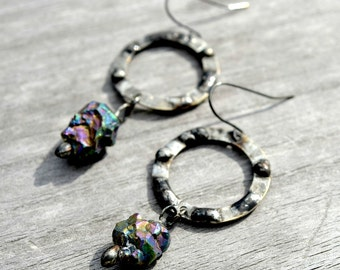 Quartz Drop Earrings, Artisan Earrings, (2460)