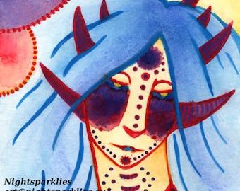 4x6 5x7 6x8 Fine Art Print, Dark Art, Dark Elf, Elf, Forest Creature, Fantasy Art, Fairytale Art, Demon, Demon Horns