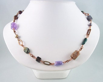 Mixed Gemstone Freshwater Pearl Copper Necklace