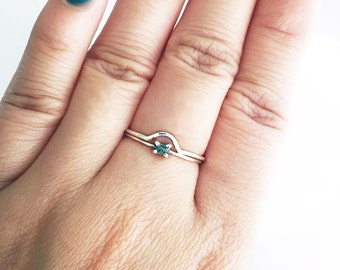 One Sterling Silver Crescent Ring Scallop Semicircle Stacking Layering Dainty Thin Silver Ring