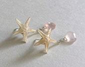 Tiny Starfish Earrings, Starfish Dangle Earrings, Real Starfish Jewelry, Pink Drop Earrings, Hawaiian Earrings, Pink Gemstone Dangle