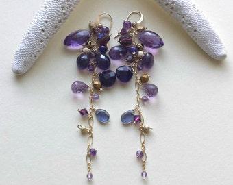 Long Amethyst Dangle Earrings, Purple Gold Gemstone Dangle, Boho Cluster Earrings, Long Gemstone Earrings, Boho Amethyst Earrings