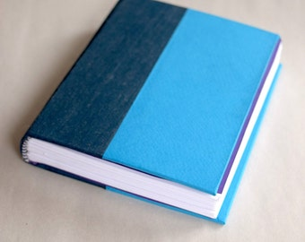 Blue Journal, Hardcover Journal, Handmade Journal, Color Block Journal, Art Journal