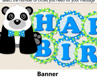 Panda Birthday Party BANNER or Panda Baby Shower Decorations - Party Package, Invitation, Cake Topper, Party Hat - Blue and Green
