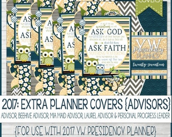 2017 YW Presidency Planner EXTRA Advisor Covers, LDS Young Women - Printable Instant Download
