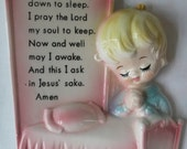 Vintage Lefton Now I Lay Me Down to Sleep Wall Plaque Vintage Lefton Nursery Prayer Plaque