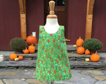 Reversible Crossover Dress  - Green Autumn - Girls Dress