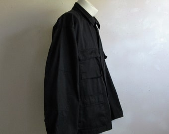 Vintage 1980s Mens Military Jacket Authentic Midnight Outdoors Light Combat Cotton Jacket Lrg Reg