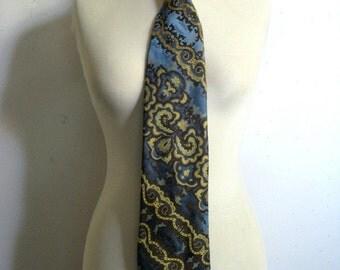 Vintage 1970s Necktie Louis Feraud Blue Paisley Wide Mens Necktie