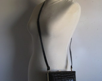 Vintage 1980s Handbag Dark Brown Faux Croc Square Cube Shoulder Bag