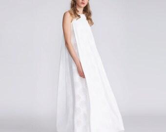 Beach Wedding Dress, laser cut wedding dress, White jersey maxi dress,  jersey dress, boho chic, bridal dress, urban wedding, summer dress