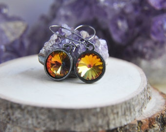 Crystal Earrings, Black Earrings, Orange Earrings, Yellow Earrings, Fire Earrings, Autumn Earrings, Colorful Earrings, Modern Earrings, fall